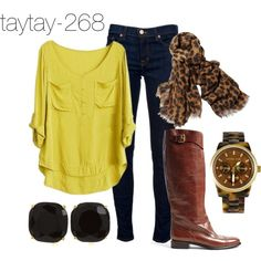 Blouse, jeans, boots & scarf. Perfect Fall outfit!