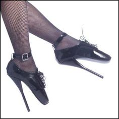 Ballet Shoes are the ultimate fetish shoes. They are the extreme in foot bondage. Being forced to walk on your toes and stretching your muscles for accommodate your position. The School Girl Ballet Shoes make a statement. They lace up and also have an ankle strap for additional sex appeal. These extreme heels are 7 inches long and take some practice to walk in. Train your submissive today to walk in fetish ballet shoes.