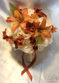 "17 Pieces Package Silk Flower Wedding Decoration Bridal Bouquet Dusty Orange ""Lily Of Angeles"". $199.99, via Etsy."