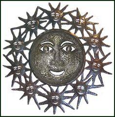 "Sun and More Suns - Haitian Metal Art Wall Decor - 24"" $84.95 -  Steel Drum Metal Art from  Haiti - Interior or Garden Décor   * Found at  www.HaitiMetalArt.com"