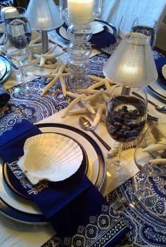 blue classic tablescape, table settings, idea, blue white table setting, sea