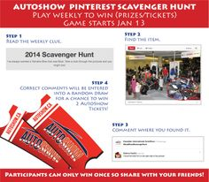 #AutoShowScavengerHunt Instructions. Play Weekly to win two free tickets to the Canadian International AutoShow!