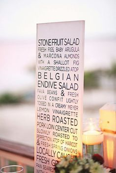Wedding menu sign Photo Source: brides.com #menusigns #weddingsigns