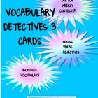 Another Vocabulary Detective task Card contest! Run weekly contests using these noun, verb and adjective cards!  Kids put their cards into the Dete...