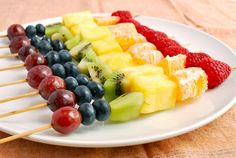 Rainbow fruit skewers--fun and portable for kids parties
