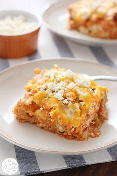 Slow Cooker Buffalo Chicken Lasagna -- A quick and easy crock pot recipe!