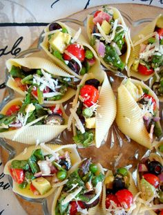 Salad Stuffed Shells | Good Dinner Mom It would be fun to mix it up and stuff w/ chicken, crab, seafood, or egg salad. Perhaps serve as finger food salads.