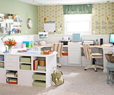 I will have a craft room one day.. just like this! basement office, dream, scrapbook rooms, desks, craftroom, basements, home offices, crafts, craft rooms