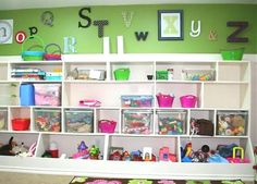 Toy storage for the play room...on the hubbys to build list...perfect for play room