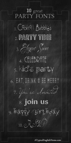 A Typical English Home: My Favorite Free Celebration and Party Fonts