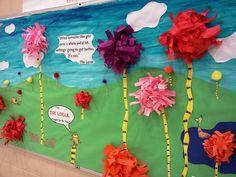Bulletin Board Ideas for Dr. Seuss Celebration- The Lorax, Truffula Tree Forest.