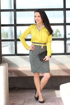 Chartreuse and Print Skirt