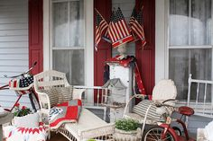 Farmhouse porch dressed in Red, White and Blue at Raised In Cotton~Missouri