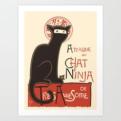A French Ninja Cat (Le Chat Ninja) Art Print by Kyle Walters - $17.00