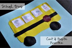 School Bus Craft for Cut and Paste Practice