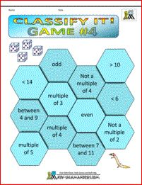 Classify It! Game 4. A 3rd grade math game involving matching properties of numbers with rolls on a dice.