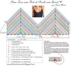 FALANDO DE CROCHET: PALA DE CROCHE COM BUSTO MODELADO E DECOTE EM V #crochet