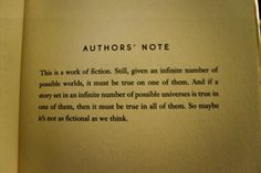 An author's note