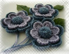 Pack of 3 Hand Crochet Denim Blue and Lilac  by CraftsbySigita,