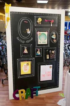 DIY huge chalkboard with hand-drawn frames for display {hang with decorated magnets, clothespin magnets or washi tape}