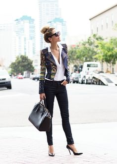 black + gold outfit
