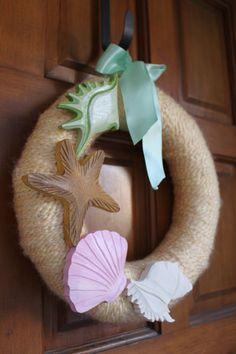 Yarn and Wood Shell Summer Wreath by LaVBoheme on Etsy, $30.00