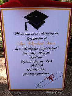 High School Graduation Party Ideas | College High School Graduation Cap Party Invitation 2013 by BellaGrey ...