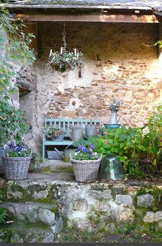 VINTAGE INTERIOR BLOGS VI bench, chandeliers, outdoor space, basket, stone, garden design ideas, vintage interiors, modern garden, porch