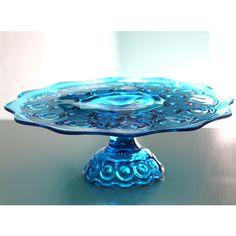 Vintage Cake Stand in Cobalt Bue / Vintage Cake Plate Pedestal / Cake... ($150) found on Polyvore