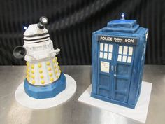 Dr. Who Dalek and Tardis cakes by Luscious Layers Bakery