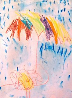 umbrella picture (child painted over blue marker with water to add to the rainy look of this simple picture).