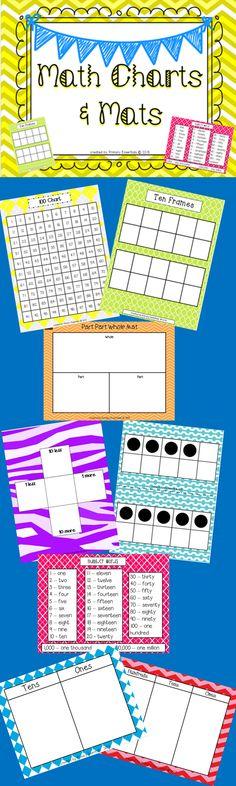 Math Charts and Mats: 100 Chart 120 Chart Tens & Ones Mat Hundreds, Tens, & Ones Mat Part Part Whole Mat Number Word Chart More & Less Mat Ten Frames Mat Large Ten Frames Flashcards