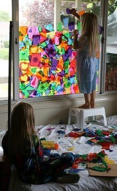 Art Window Tissue Paper Art - Great grey winter project kid-stuff