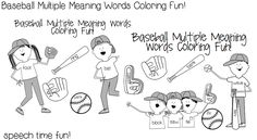 Baseball Multiple Meaning Words Coloring Fun!   - Pinned by @PediaStaff – Please Visit  ht.ly/63sNt for all our pediatric therapy pins