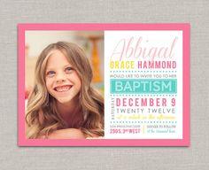 LDS Baptism Invitation - Abbigal