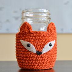 How-To: Crocheted Fox Mason Jar Cozy #cozy #fox #masonjars #crochet