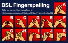 Print and make your own credit card sized British Sign Language Fingerspelling card. 1 of 2