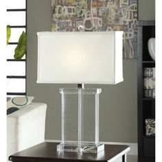 Crystal Rectangular White Shade Table Lamp - a little too short, maybe an option for a bright room with lots going on?  Sits in front of mirror with no frame but beveled edges