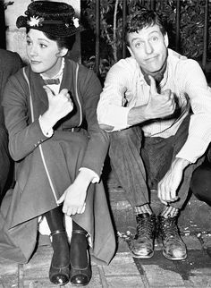 Julie Andrews and Dick Van Dyke on the set of Mary Poppins, 1963