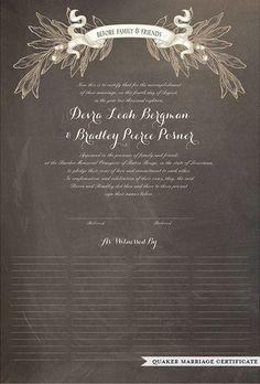 Wedding, Quaker and Guest Print - Oak Leaves