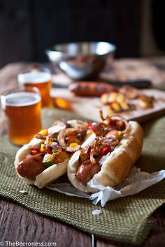 Beer Brat Dogs with Grilled Peach Salsa and Fried Onions