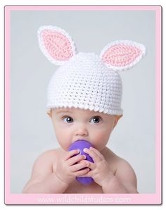 Crochet Bunny Hat Cap Newborn to 3 months in by amotherscrochet, $13.00. All outta baby's over here but, still LOVE this!