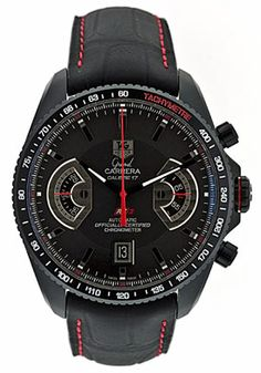 Tag Heuer Men's Grand Carerra Black Chronograph Dial Black Leather