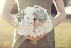 cotton bouquet (minus succulents use a big flower like a ranunculus.