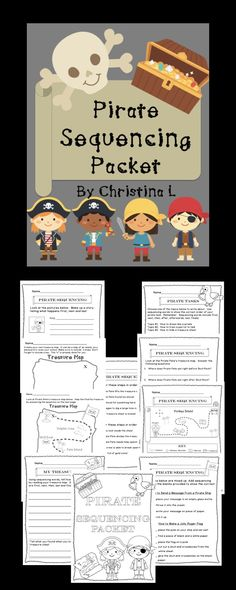 """Use these fun pirate themed worksheets to teach sequencing. Also included are creative writing exercises that incorporate sequencing and """"how to"""" writing."""