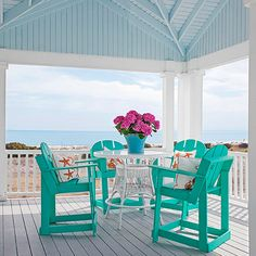 Add ColorHave fun with color and paint on your porch. Consider an eye-catching paint color for the ceiling. Here, sky blue mimics the real deal and is bright even on cloudy days. Reserve saturated, intense colors for furniture and accessories, like these teal chairs and orange patterned pillows.