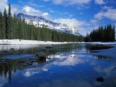 ) Bow River and Castle Mountain Alberta Canada