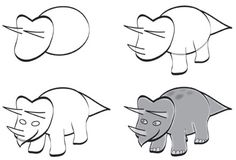 How to draw a triceratops.... for our dinosaur unit's bulletin board