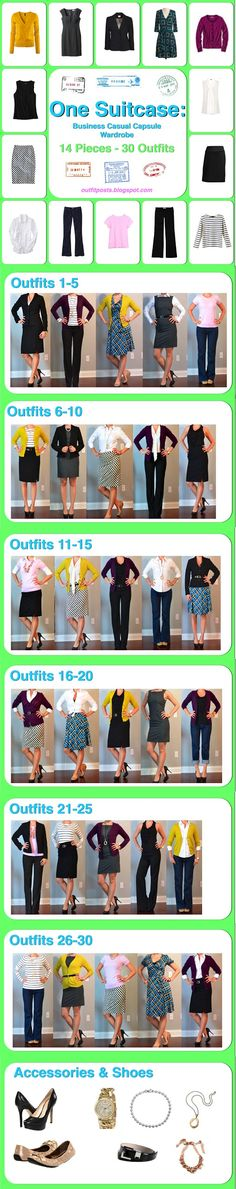 Packing for business - 14 pieces = 30 outfits    Outfit Posts: one suitcase: business casual capsule wardrobe