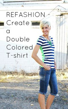 Here's an amazing idea for refashioning old shirts --- Combine two shirts together to create a two-toned top!